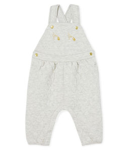 Baby Girls' Long Quilted Tube-Knit Dungarees Beluga grey