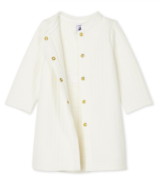 Baby Girls' Quilted Tube Knit Coat Marshmallow white