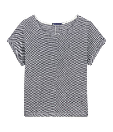 Women's flowing linen tee with milleraies stripes Smoking blue / Lait white