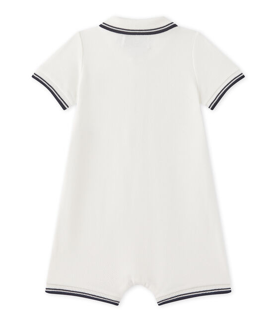 Baby boys' short dungaree in piqué jersey Marshmallow white