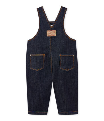 Unisex baby's long denim dungarees. Jean blue