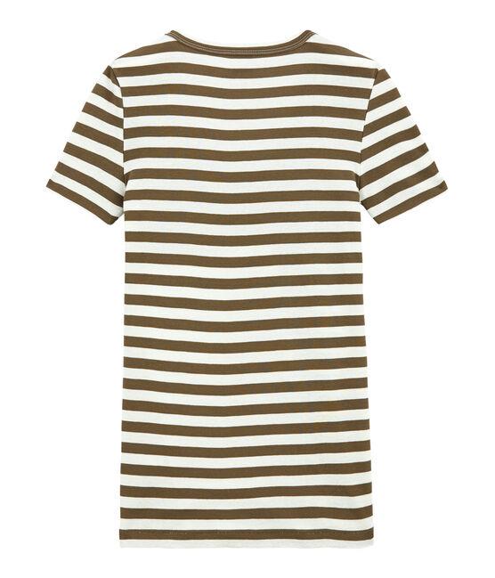 Women's striped original rib V-neck T-shirt Shitake brown / Marshmallow white