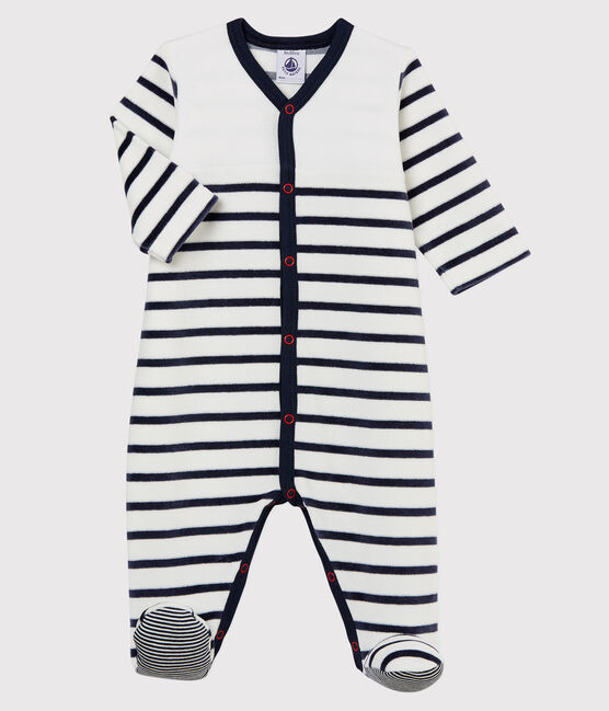 Babies' Striped Velour Sleepsuit Marshmallow white / Smoking blue