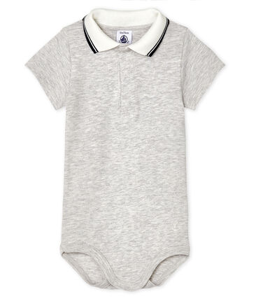 Baby Boys' Bodysuit with Polo Shirt Collar Beluga Chine