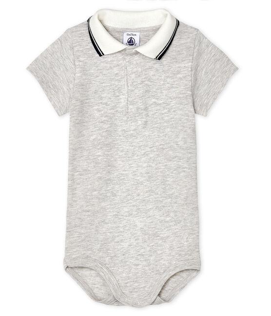 Baby Boys' Bodysuit with Polo Shirt Collar Beluga Chine
