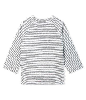 Baby Boys' Long-Sleeved Pinstriped T-Shirt Subway grey / Marshmallow white