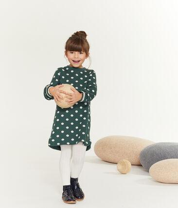 Girls' Print Dress Sousbois green / Marshmallow white