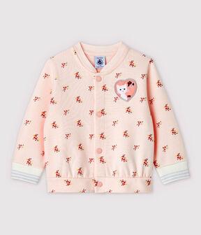 Baby Girls' Print Fleece Baseball Jacket Fleur pink / Multico white