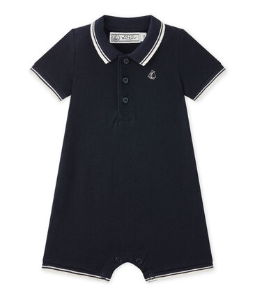 Baby boys' short dungaree in piqué jersey