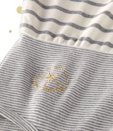 Women's long sleeved body. Petit bateau x Marie-Agnès Gillot Coquille beige / Subway grey