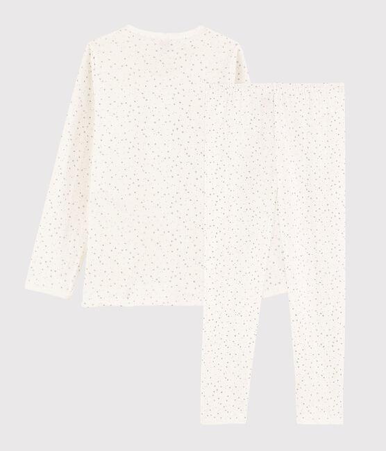Pyjama étoilé petite fille en tubique Marshmallow white / Argent grey