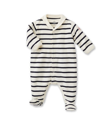 Baby's striped sleepsuit Coquille beige / Abysse blue