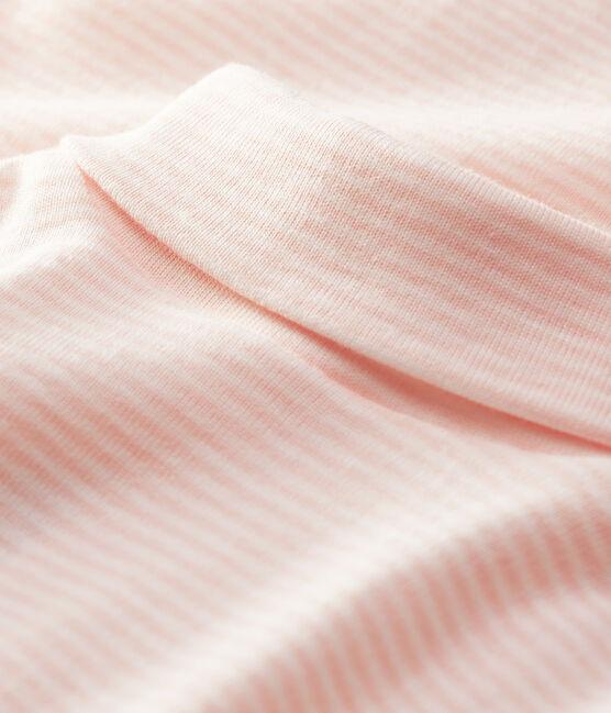 Baby's long-sleeved roll-neck bodysuit Minois pink / Marshmallow white