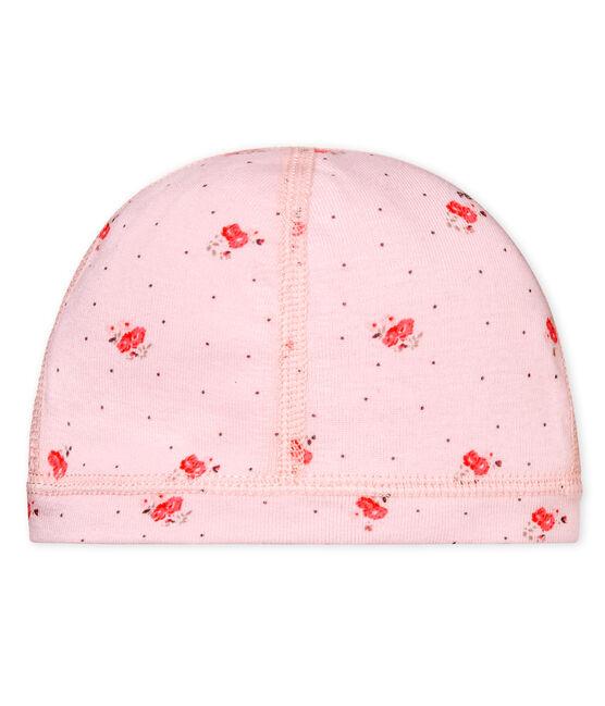 Unisex newborn baby printed bonnet Vienne pink / Multico white