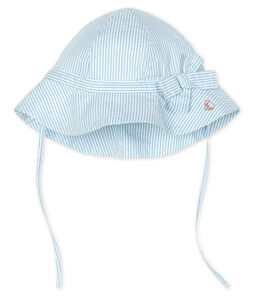 Wide-brimmed seersucker hat for baby girls Marshmallow white / Acier blue