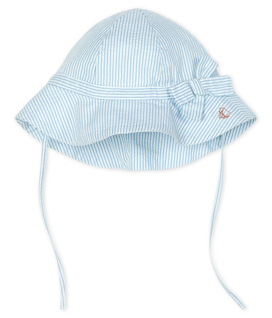 Wide-brimmed seersucker hat for baby girls Marshmallow white / Acier blue