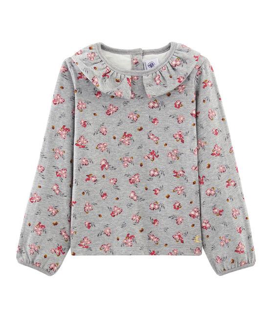 Girls' Long-Sleeved T-Shirt Beluga grey / Multico white