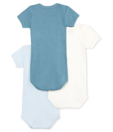 Baby Boys' Short-Sleeved Cotton and Linen Bodysuit - Set of 3