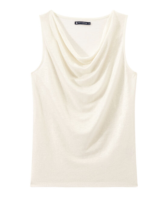 Women's iridescent linen top Lait white / Or yellow
