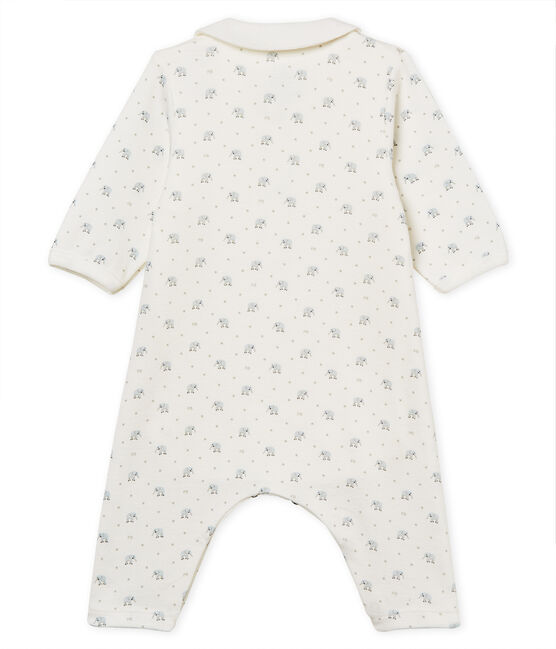 Baby boys' footless bodyjama in printed 1x1 rib knit Marshmallow white / Multico white
