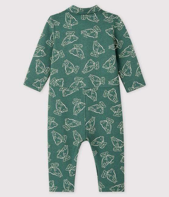 Baby Boys' Long Brushed Fleece Jumpsuit Vallee green / Vallee clair green