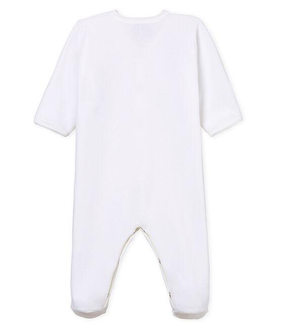 Babies' Unisex Velour Sleepsuit Ecume white
