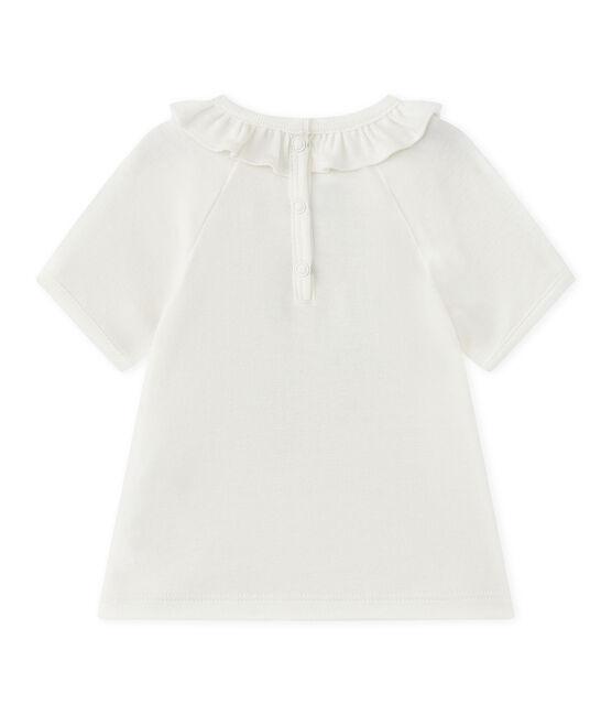 Baby girl's short-sleeved T-shirt Marshmallow white / Smoking blue