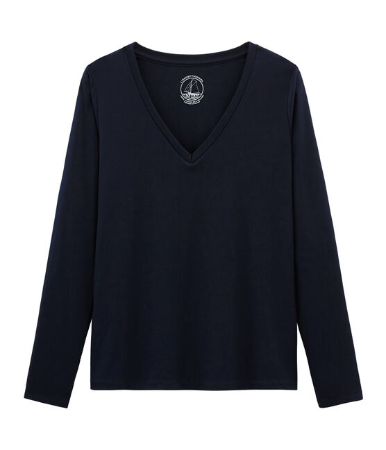 Women's Long-Sleeved Sea Island Cotton T-Shirt Marine blue