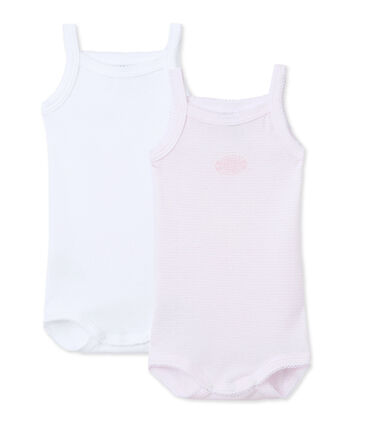 Pack of 2 baby girl bodysuits with straps
