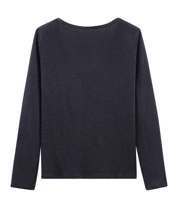 Women's long-sleeved iridescent linen t-shirt Smoking blue / Copper pink