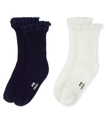 Baby Girls' Lace Socks - 2-Piece Set Smoking blue