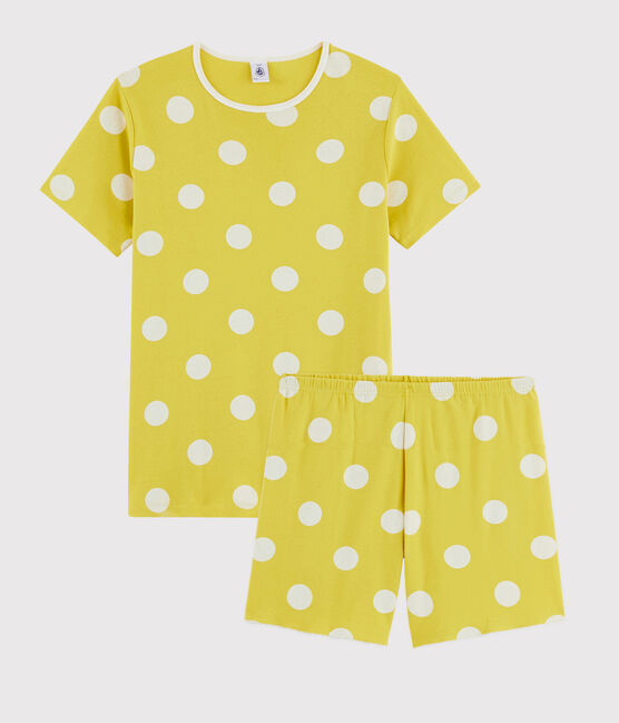Girls' or Women's Spotted Ribbed Short Pyjamas Ble yellow / Ecume white