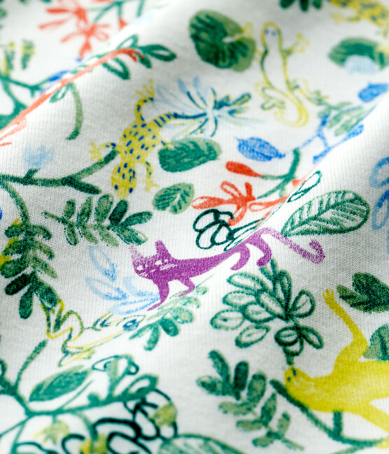 Baby Girls' Jungle Cotton Sleepsuit Marshmallow white / Multico white