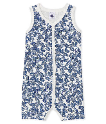 Baby Boys' Ribbed Playsuit Marshmallow white / Bleu blue