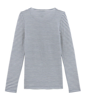 women's long sleeved cotton and wool t•shirt Turquin blue / Marshmallow white
