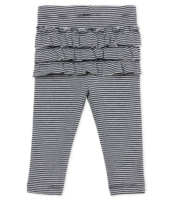 Baby girls' pinstriped leggings Smoking blue / Marshmallow white