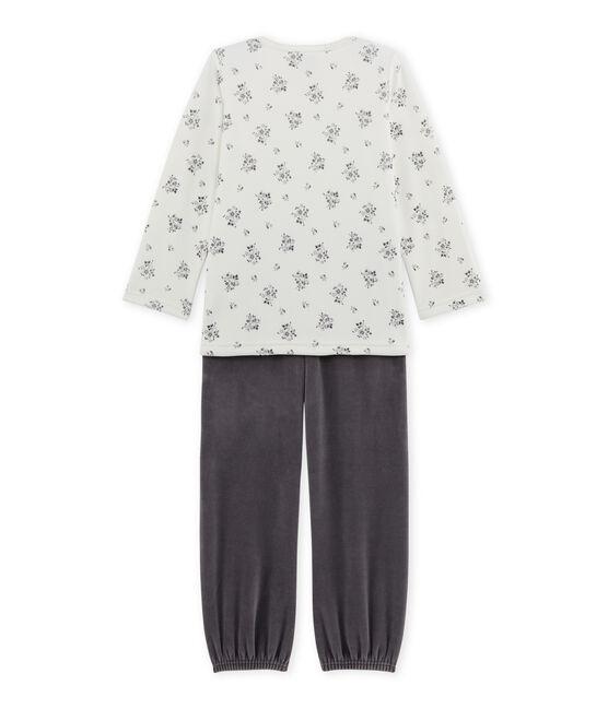 Girl's terry velour pyjamas Maki grey / Lait white
