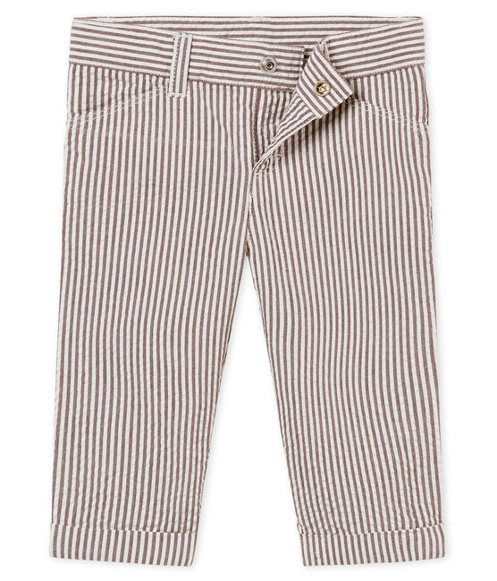 Baby boys' striped trousers Vino red / Marshmallow white