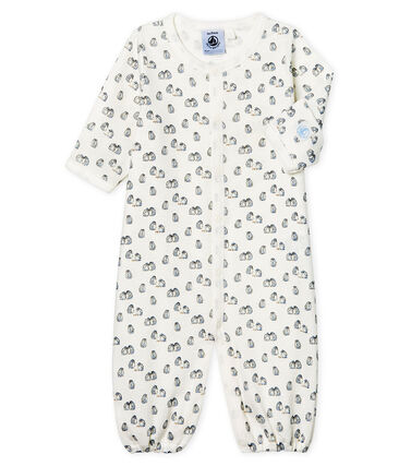 Babies' Ribbed Jumpsuit/Sleeping Bag Marshmallow white / Toudou blue
