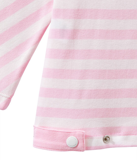 Women's striped long-sleeve tee Babylone pink / Marshmallow white
