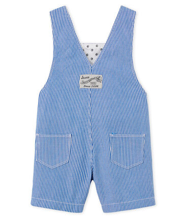 Baby Boys' Striped Short Dungarees Surf blue / Ecume white