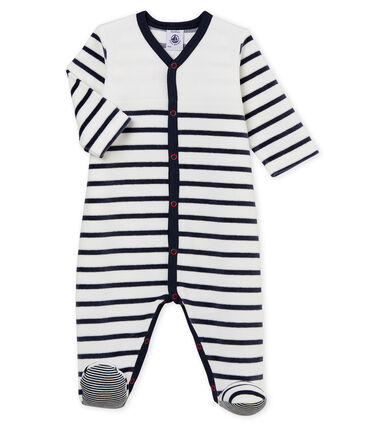 Babies' Velour Sleepsuit Marshmallow white / Smoking blue