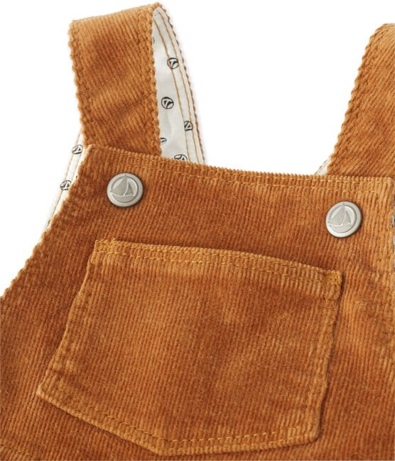 Baby boy's stretch velours overalls Cuivre brown