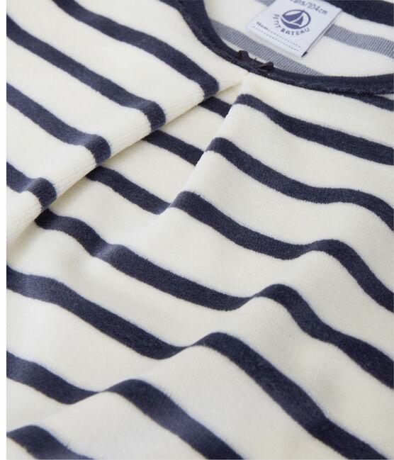 Chemise de nuit fille à bouclette velours Coquille beige / Smoking blue