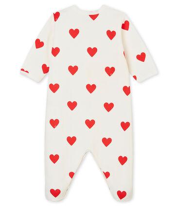 Baby Girls - Boys' Ribbed Sleepsuit Marshmallow white / Terkuit red