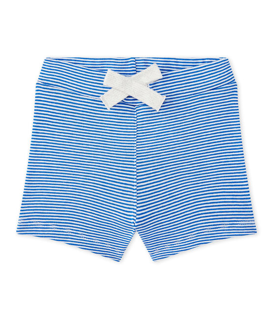 Baby boy's striped shorts Perse blue / Marshmallow white