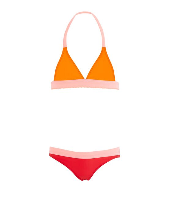 Girls' Two-Piece UPF 50+ Swimsuit Tiger orange / Multico white
