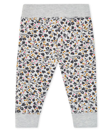 Baby girl's jogging trousers Beluga grey / Multico white