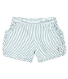 Baby Girls' Seersucker Shorts Marshmallow white / Acier blue