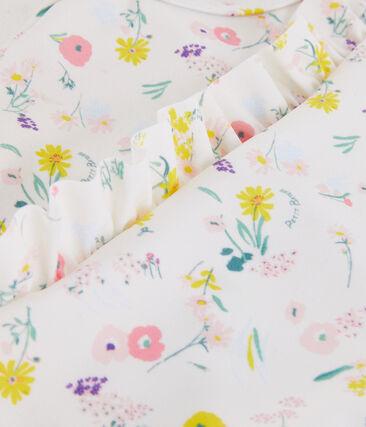 Girl's eco-friendly swimsuit Marshmallow white / Multico white